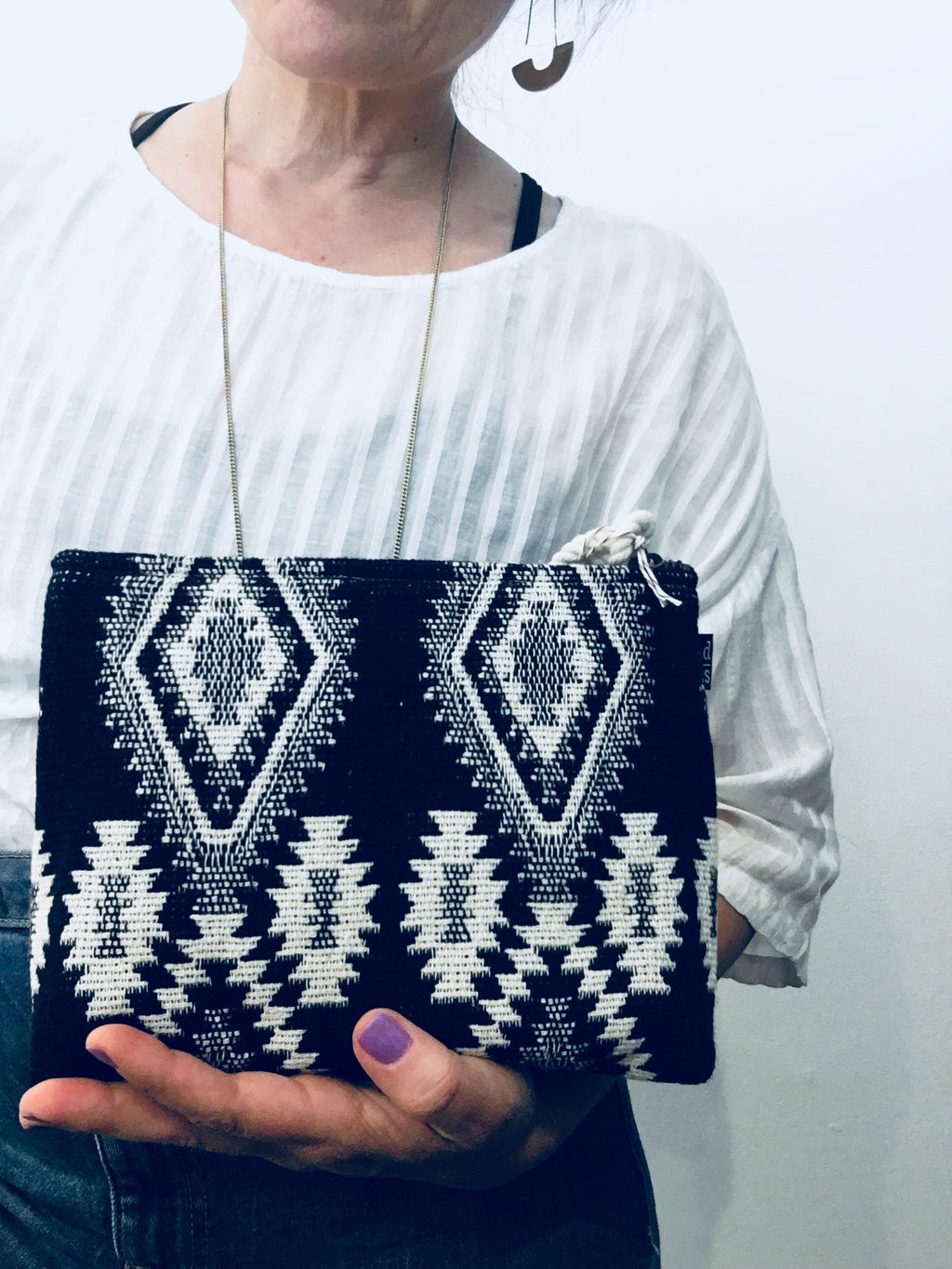 Black and White woven zip bag