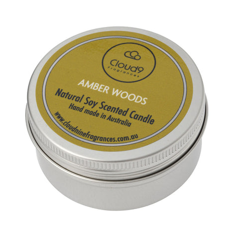 Amber Woods Scented Candle Travel Tin
