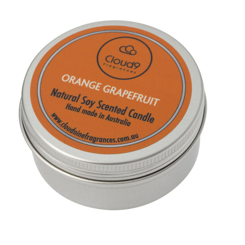 Orange Grapefruit Scented Candle Travel Tin