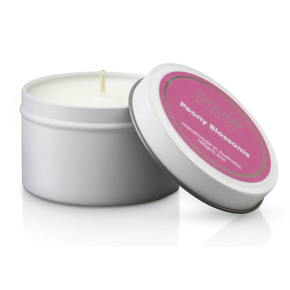 Peony Blossoms Scented Candle Tin
