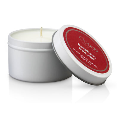 Raspberry Coconut Scented Candle Tin