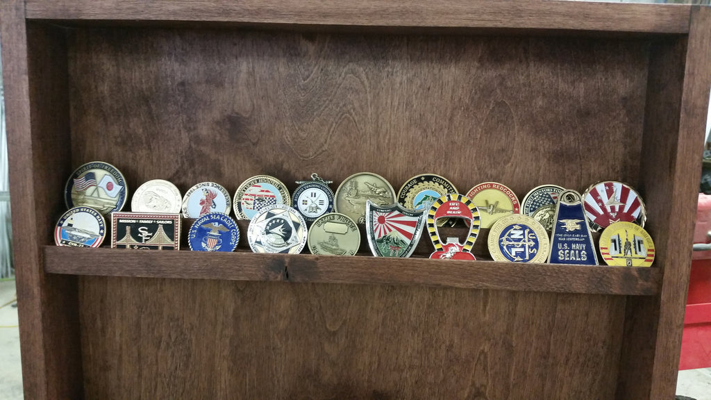 LED Lit Engraved Challenge Coin Display Cabinet – Quality Custom T's