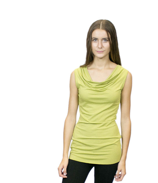 CASP4 Sleeveless Cowl Neck Tunic Top, Sustainable. Made in the USA