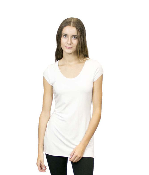CASP6 Cap Sleeve Scoop Neck Tunic Top, sustainable. Made in the USA