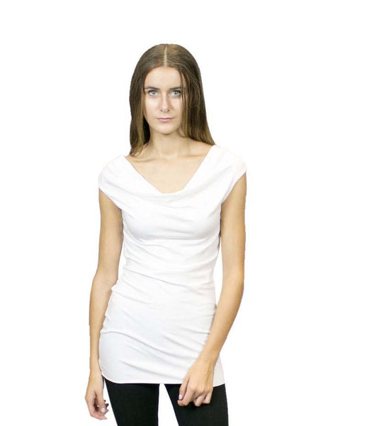 CASP3 Cap Sleeve Cowl Neck Tunic Top, Sustainable. Made in the USA