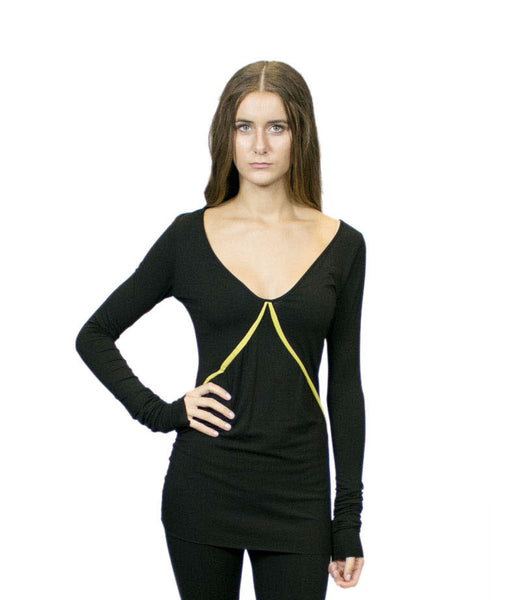 CA5 Deep Neckline Tunic with Solid or Color Trim, Sustainable. Made in the USA