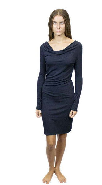 CA2D37 Long Sleeve Cowl Neck Dress, Sustainable. Made in the USA