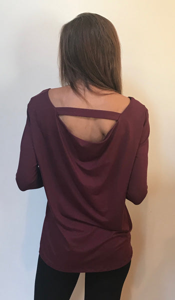 Style# CA18 Long Sleeves Back Cowl Neck Tunic