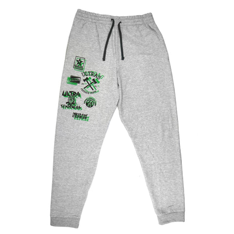 "Light grey sweatpants with a black drawstring at the waist. On the upper right leg is a collection of NPO ""Ultra"" graphics from over the last decade in black with a green drop shadow. The logos are placed to look like they are jumbled together."