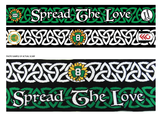 Side 1: black background with a green Irish love knot pattern. One end has the number 8 on a green shamrock and yellow sunflower design. The other end has Jimmy Conway's name in black script inside of a white circle.  Side 2: black background with a white Irish love knot pattern. One end has the Portland Timbers Football Club crest from when Jimmy Conway played on the team. The other end has Fulham Football Club crest.