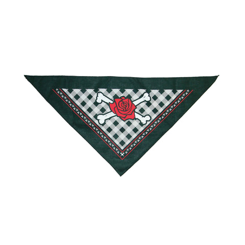 A black triangular bandana with a black and white buffalo plaid print surrounded by a black border. The left and right sides of the triangle have a small, repeating white crossed axes and rose print on the outside edge of the buffalo plaid print; there is a thin red line surrounding the repeating axes and rose print. There are white crossed bones in the middle with a large red rose in the center of the crossed bones.