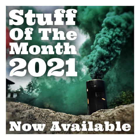 "A green canister of smoke in the background with the words ""Stuff of the Month 2021 Now Available"" in white."