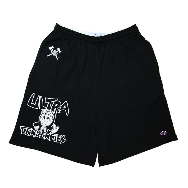 "Black cotton shorts with the No Pity Originals white crossed axes and rose logo on the right front side at the waistband. The white outlined text ""Ultra Tendencies"" surrounds an illustrated ""Ultra"" figure smiling with its right hand on its hip and left hand is showing the middle finger. The Ultra is wearing a button down shirt with only the top buttoned and a hat with the brim flipped up. The hat reads N-E-U for North End Ultras."