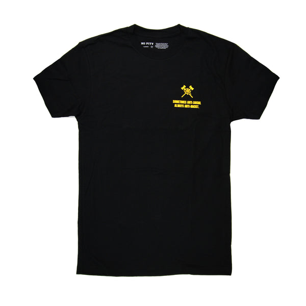"The front of this black t-shirt has the Timbers Army crossed axes and rose logo in yellow on the left breast with the words ""Sometimes Anti-Social, Always Anti-Racist"" in yellow block letters below it."