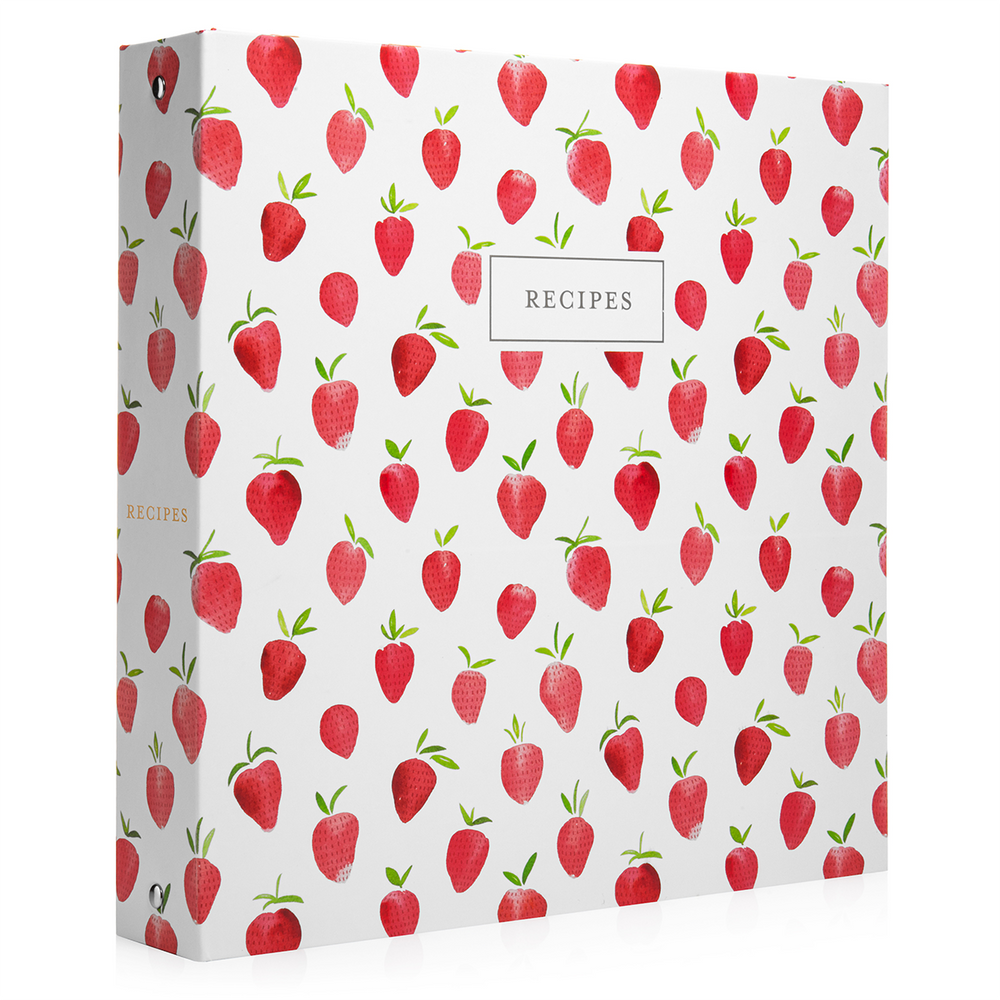 Recipe Binder Kit 8.5x11 (Strawberry Wilds) - Full-Page with Clear Protective Sleeves and Color Printing Paper for Family Recipes