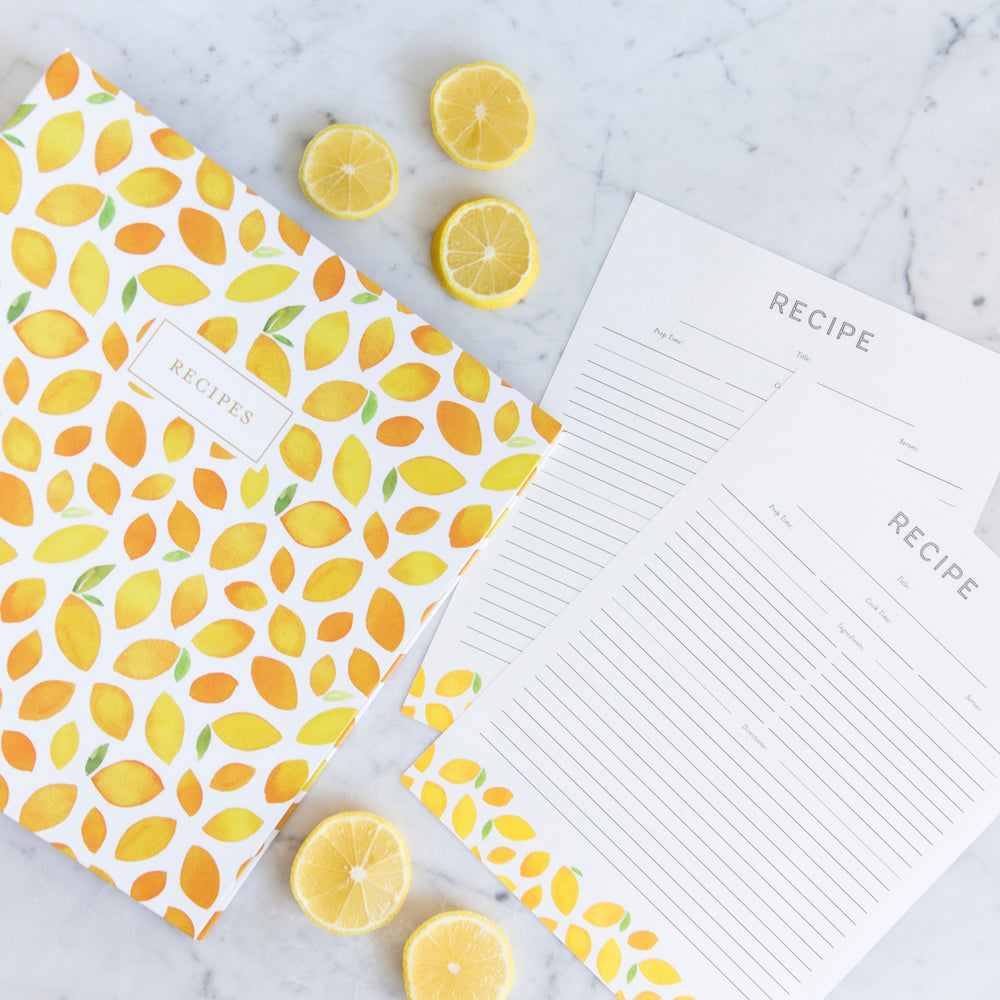 Recipe Binder Kit 8.5x11 (Lemon Twist) - Full-Page with Clear Protective Sleeves and Color Printing Paper for Family Recipes