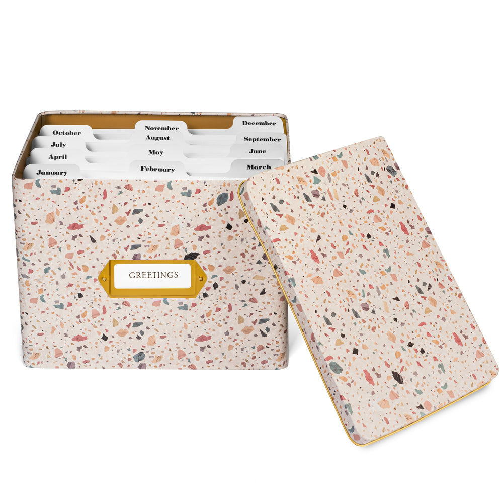 Greeting Card Organizer Tin Box Kit with Dividers, Cards, and Envelopes (Terrazzo Blush)