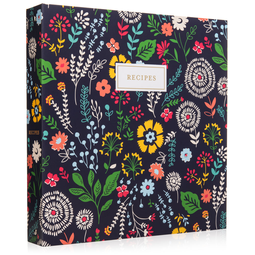 Recipe Binder Kit 8.5x11 (Pinwheel Floral) - Full-Page with Clear Protective Sleeves and Color Printing Paper for Family Recipes