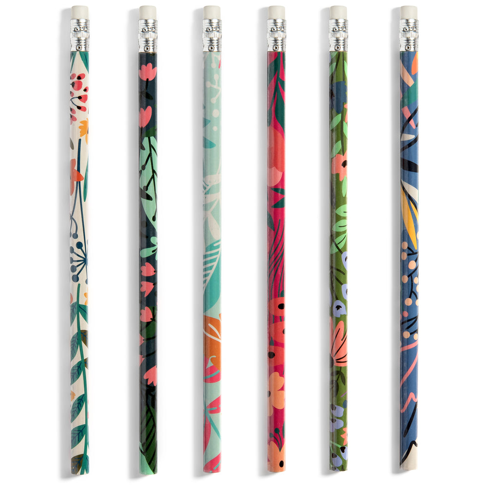 Floral Pencils | Set of Six Premium Wood Pencils with Decorative Wild Flower Themed Designs