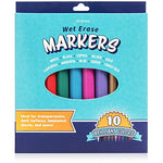 Wet Erase Markers | Bright Colors for Writing Safely on Glass Windows, Plastic Containers, and Transparent Overlays (Set of 10)