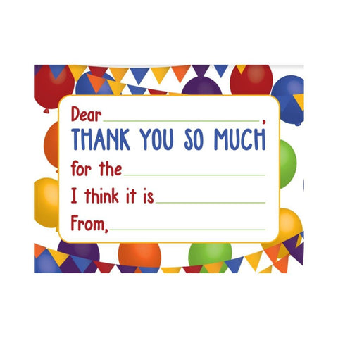Kids Thank You Cards - Balloons (set of 20)