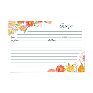 Recipe Cards - Autumn Floral (pack of 50)