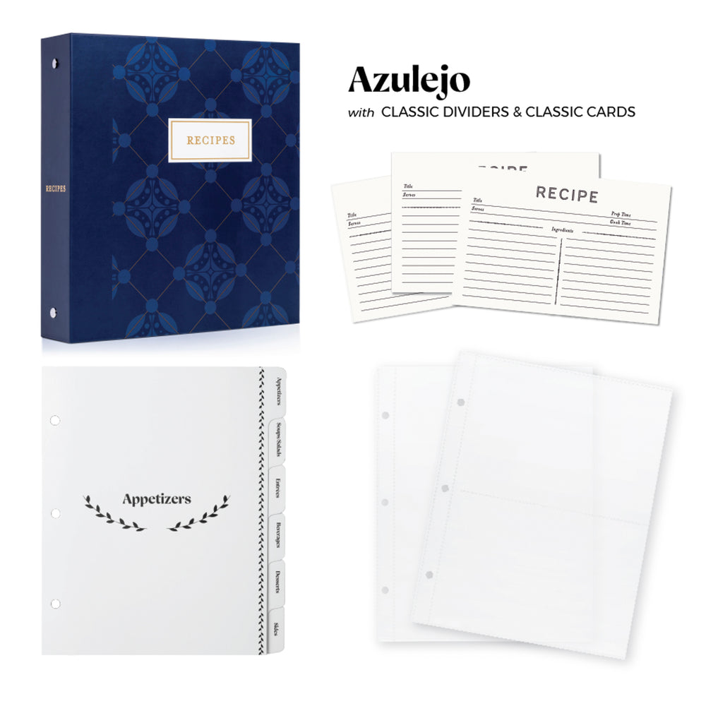 Recipe Binder Kit 8.5x9.5 (Azulejo) - Recipes Binder, Recipe Cards, Classic Dividers, and Protective Sleeves