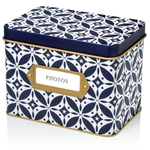 Photo Organizer Storage Box (Azulejo)