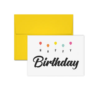 Birthday Card Box Set of 10 Cards and Envelopes - Balloons