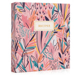 Recipe Binder Kit 8.5x9.5 (Exotic Floral) - Recipes Binder, Recipe Cards, Rainbow Dividers, and Protective Sleeves