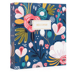 Recipe Binder Kit 8.5x9.5 (Garden Floral) - Recipes Binder, Recipe Cards, Rainbow Dividers, and Protective Sleeves