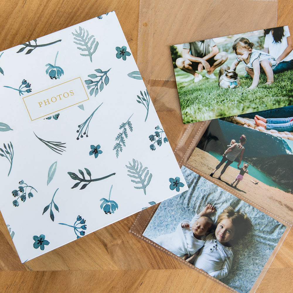 "Photo Album Set - Clear Pocket Sleeves, 6 Tab Dividers, 3-Ring Binder 8.5"" x 9.5"" (Indigo Floral)"