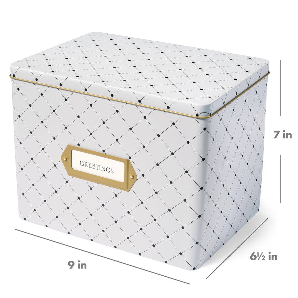 Greeting Card Organizer Tin Box Kit with Dividers, Cards, and Envelopes (Dots)