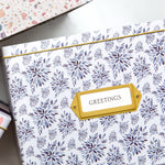 Greeting Card Organizer Tin Box Kit with Dividers, Cards, and Envelopes (Indigo Leaves)