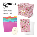 Greeting Card Organizer Tin Box Kit with Dividers, Cards, and Envelopes (Magnolia)