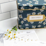 Recipe Tin Kit - English Daisies Tin, Recipe Cards, and Classic Index Dividers