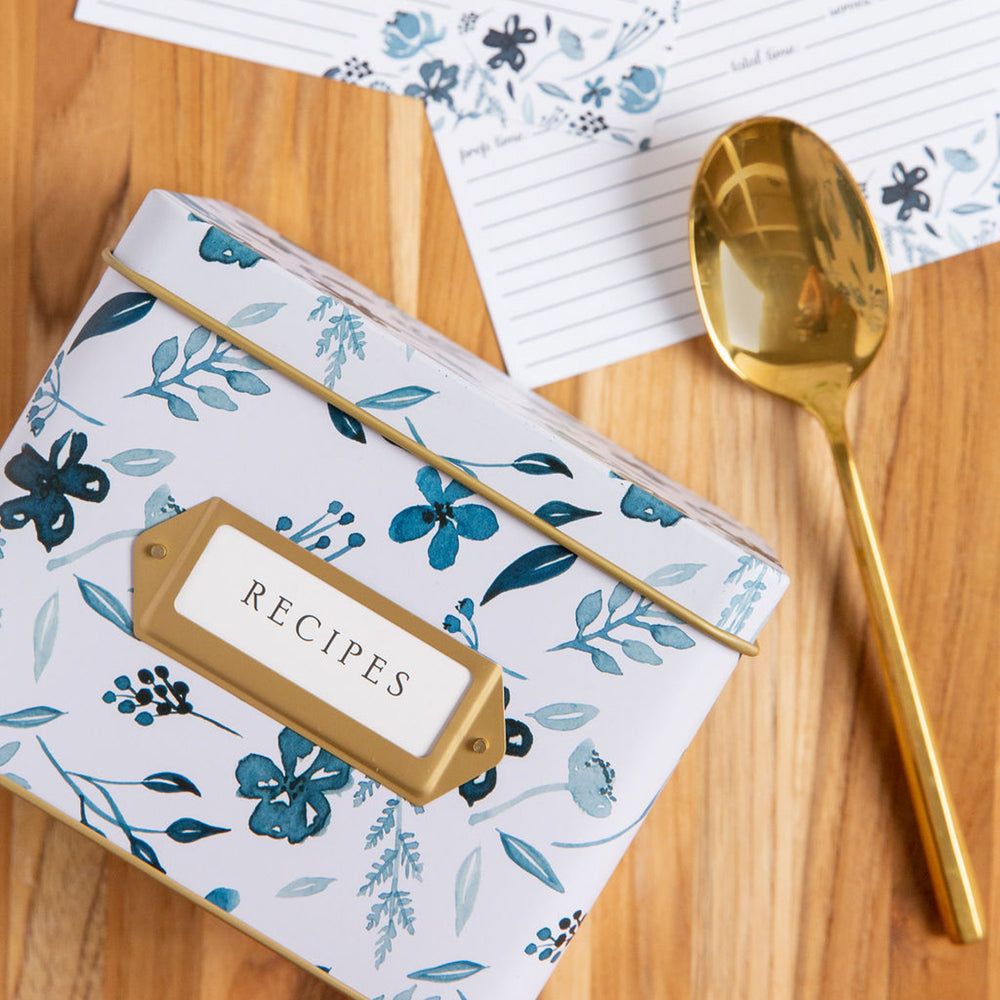 Recipe Tin Kit - Indigo Floral Tin, Recipe Cards, and Classic Index Dividers