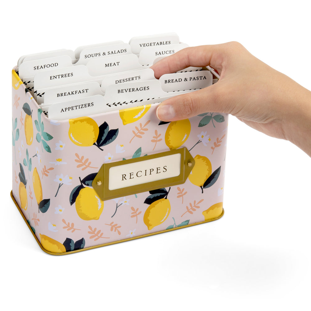 Recipe Tin Kit - Lemon Zest Tin, Recipe Cards, and Classic Index Dividers