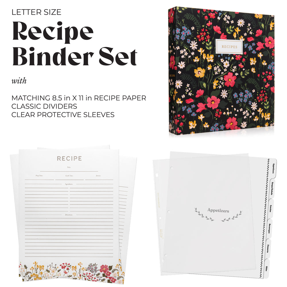 Recipe Binder Kit 8.5x11 (Midnight Bloom) - Full-Page with Clear Protective Sleeves and Color Printing Paper for Family Recipes