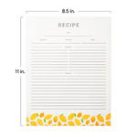 "Recipe Binder Protective Sleeves and Printed Paper 8.5"" x 11"" Expansion Pack (Lemon Zest)"
