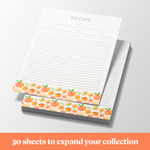 "Recipe Binder Protective Sleeves and Printed Paper 8.5"" x 11"" Expansion Pack (Peach Dream)"