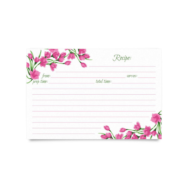 Recipe Cards- Fuchsia Flowers (pack of 50)