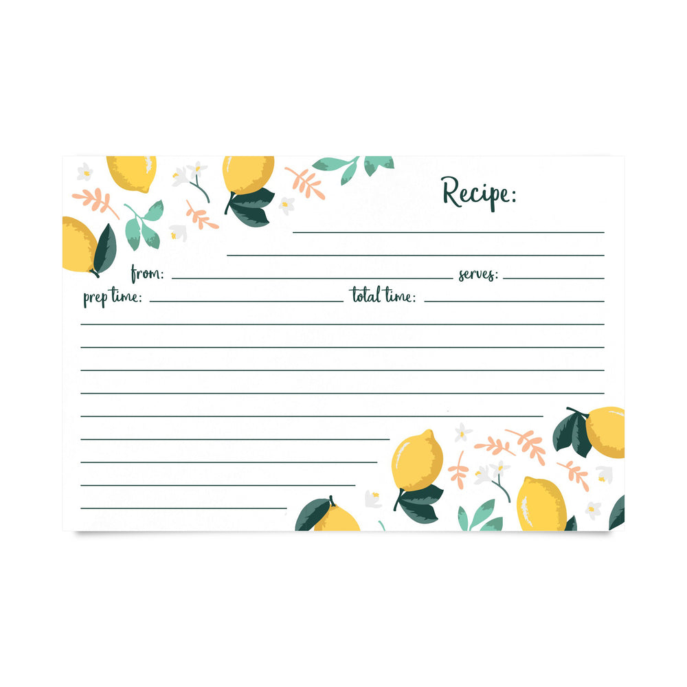 Recipe Cards- Lemon Zest (Pack of 50)