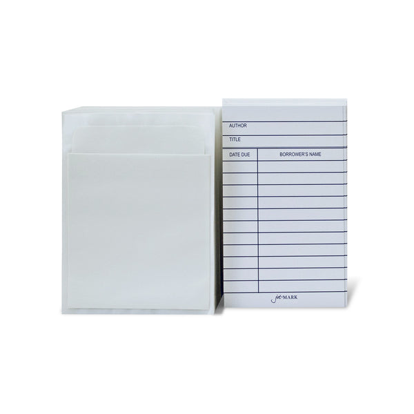 Library Book Card and Pocket Holder Kit for Catalogs and Checkouts (100 pairs)