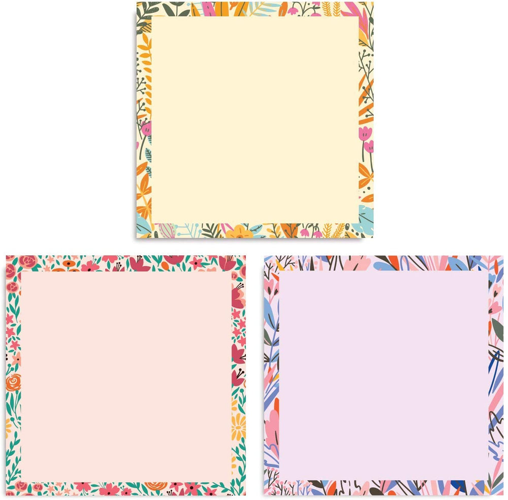 Floral Pastel Sticky Notes (Set of Six Notepads)