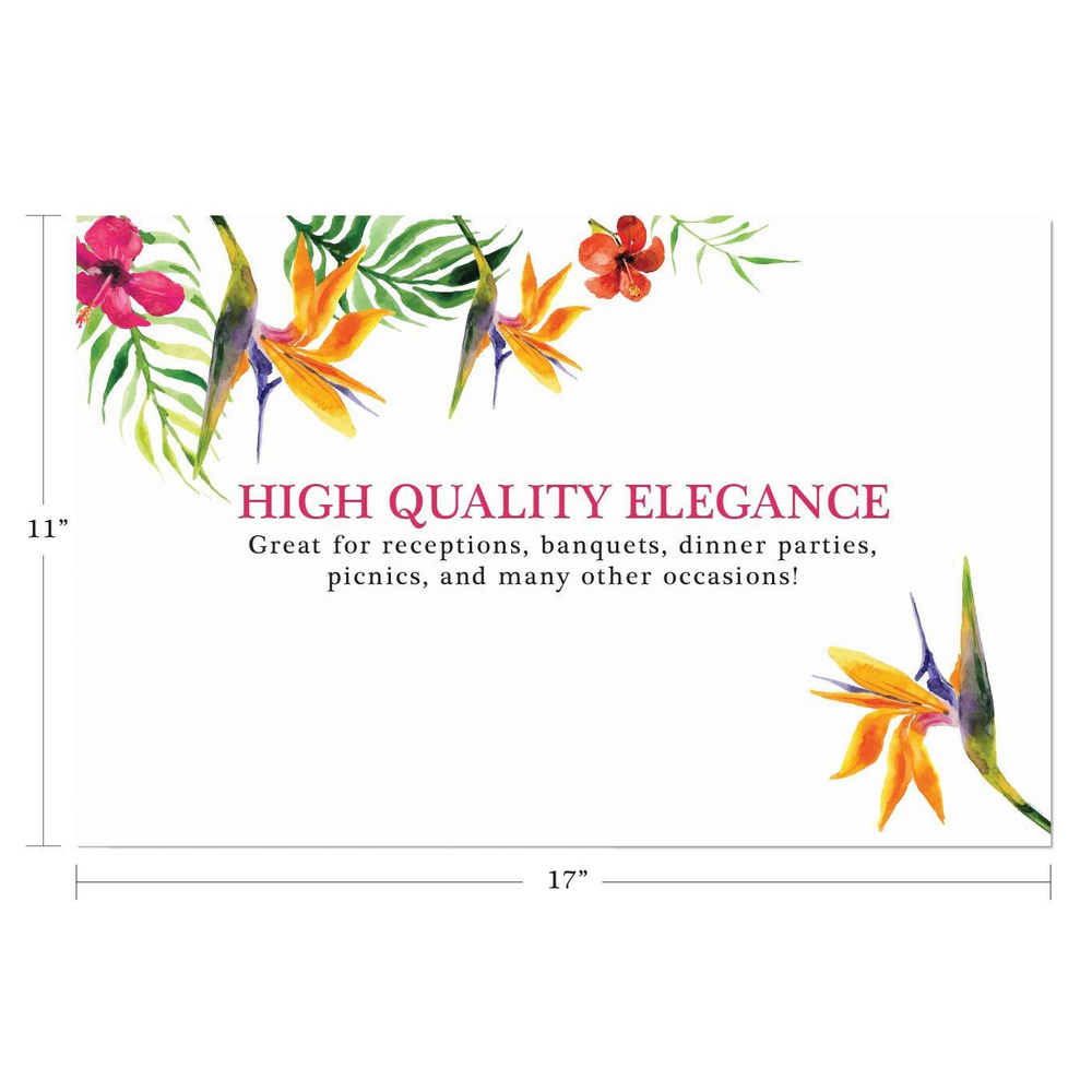 Paper Place Mats Disposable Use for Dinner Parties, Banquets, Wedding Receptions, and Everyday Home Decor, Set of 25 (Birds of Paradise)