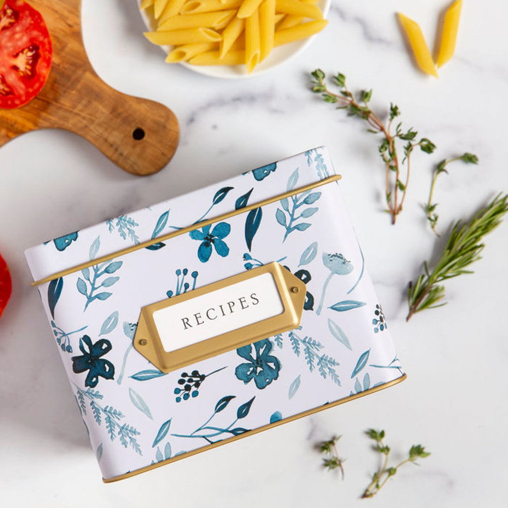 Recipe Tin - Indigo Floral