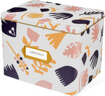 Greeting Card Organizer Tin Box Kit with Dividers, Cards, and Envelopes (Scandinavian Floral)