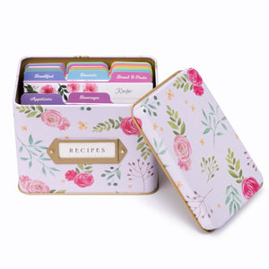 Recipe Tin Kit - Pink Peonies Tin, Recipe Cards, and Rainbow Index Dividers