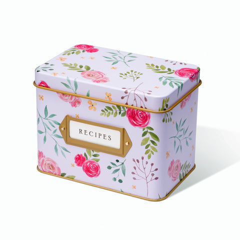 Recipe Tin - Pink Peonies